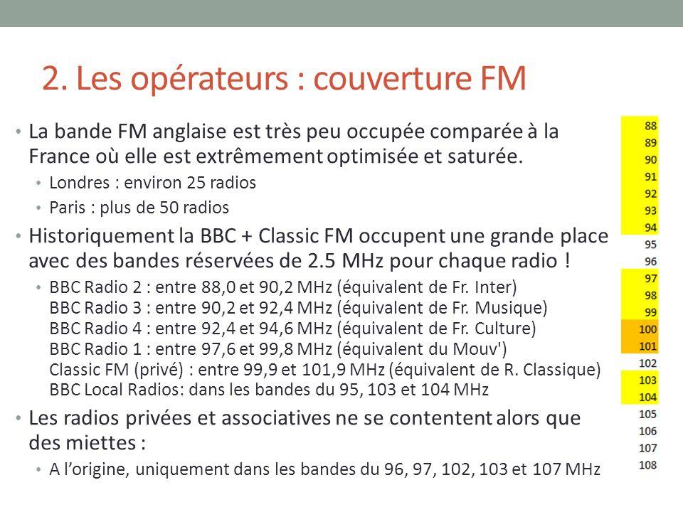 2. Les opérateurs : couverture FM La bande FM anglaise est très peu occupée comparée à la France où elle est extrêmement optimisée et saturée. Londres