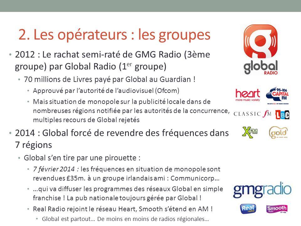 2. Les opérateurs : les groupes 2012 : Le rachat semi-raté de GMG Radio (3ème groupe) par Global Radio (1 er groupe) 70 millions de Livres payé par Gl
