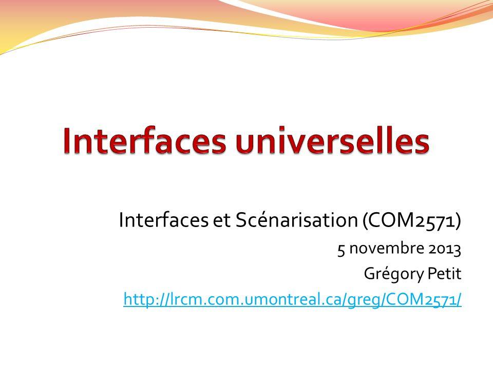 Interfaces et Scénarisation (COM2571) 5 novembre 2013 Grégory Petit http://lrcm.com.umontreal.ca/greg/COM2571/