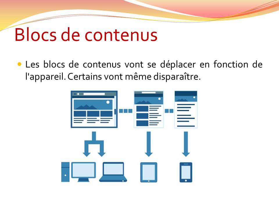 Blocs de contenus Les blocs de contenus vont se déplacer en fonction de l appareil.