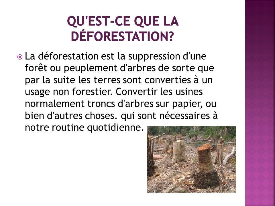 La déforestation est la suppression d'une forêt ou peuplement d'arbres de sorte que par la suite les terres sont converties à un usage non forestier.