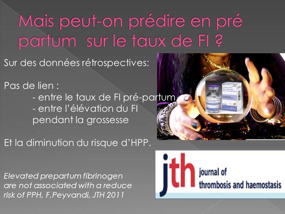 Sur des données rétrospectives: Pas de lien : - entre le taux de FI pré-partum, - entre lélévation du FI pendant la grossesse Et la diminution du risq