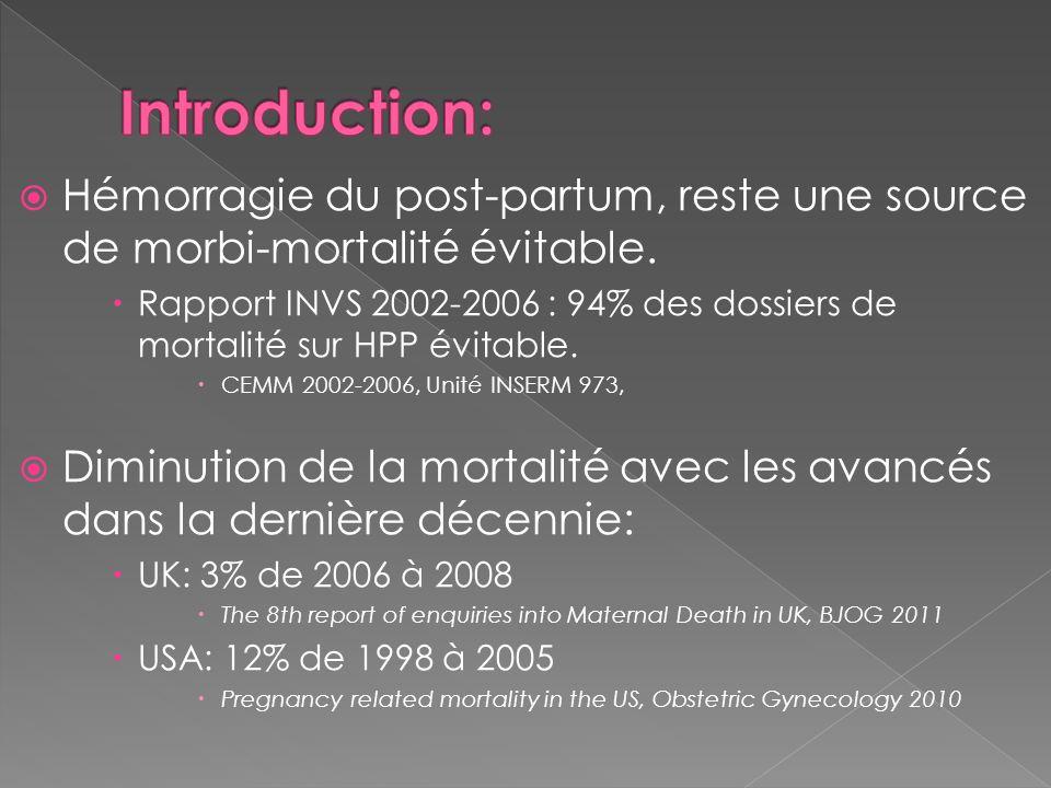 Hémorragie du post-partum, reste une source de morbi-mortalité évitable. Rapport INVS 2002-2006 : 94% des dossiers de mortalité sur HPP évitable. CEMM