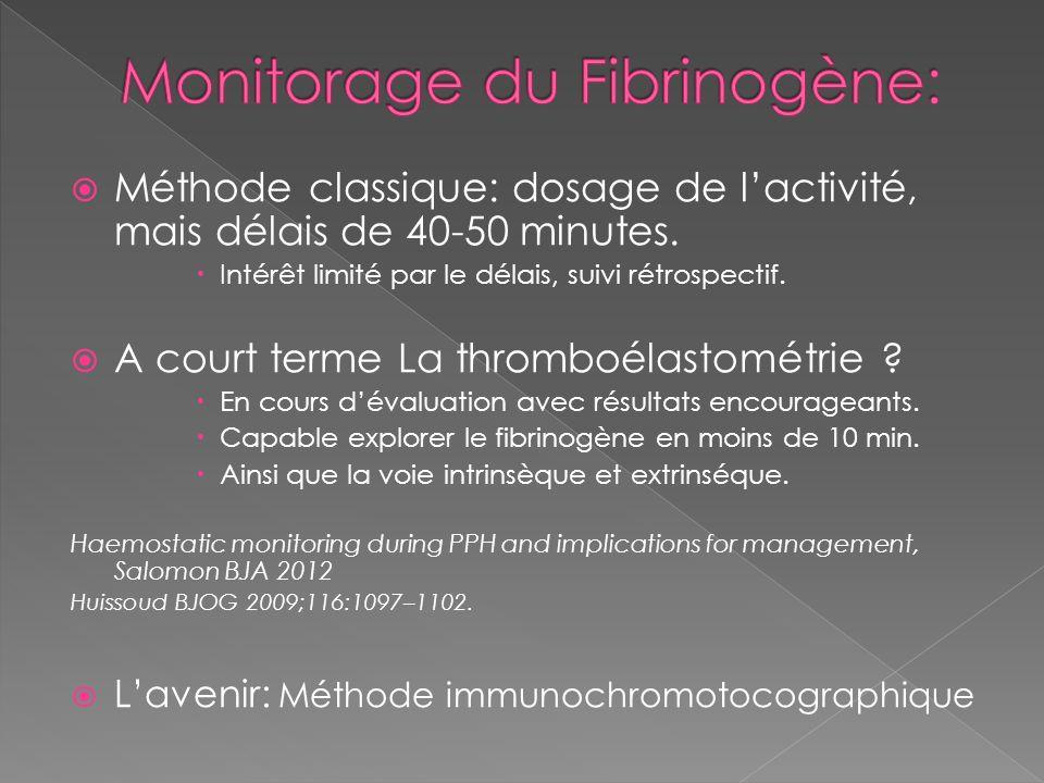 Méthode classique: dosage de lactivité, mais délais de 40-50 minutes. Intérêt limité par le délais, suivi rétrospectif. A court terme La thromboélasto