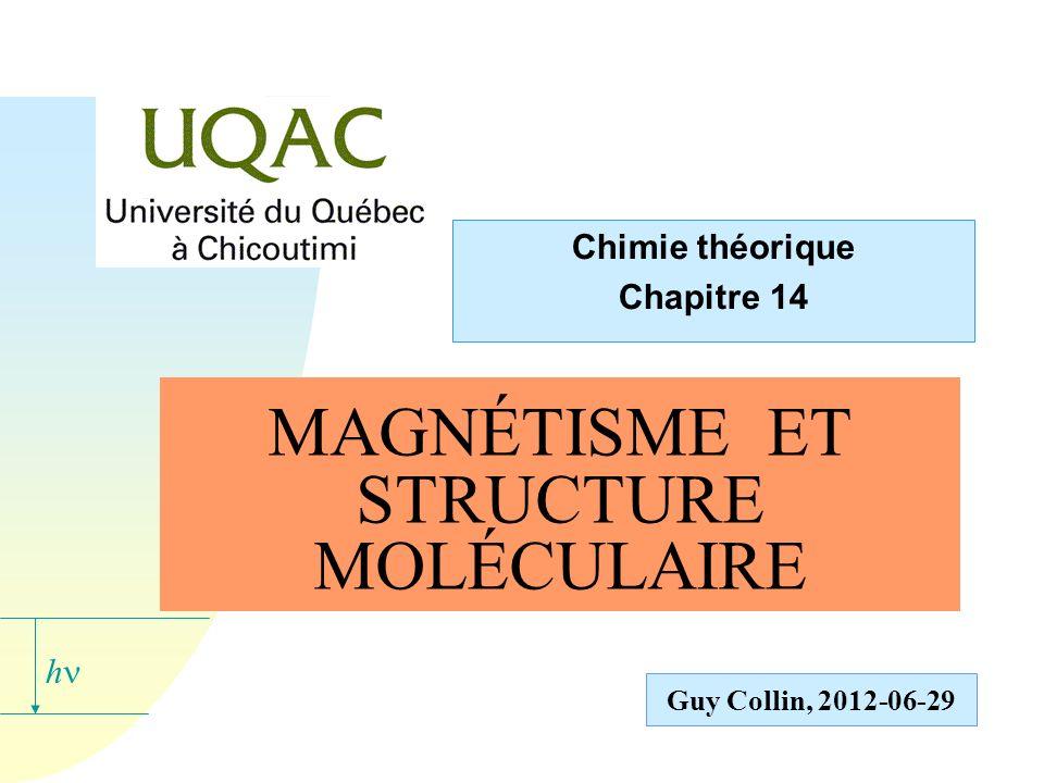 La susceptibilité magnétique dune substance n Dune manière générale, on doit obtenir : u la mesure de la susceptibilité totale ; u la séparation de leffet diamagnétique et de leffet paramagnétique ; la connaissance du moment magnétique propre de la molécule.