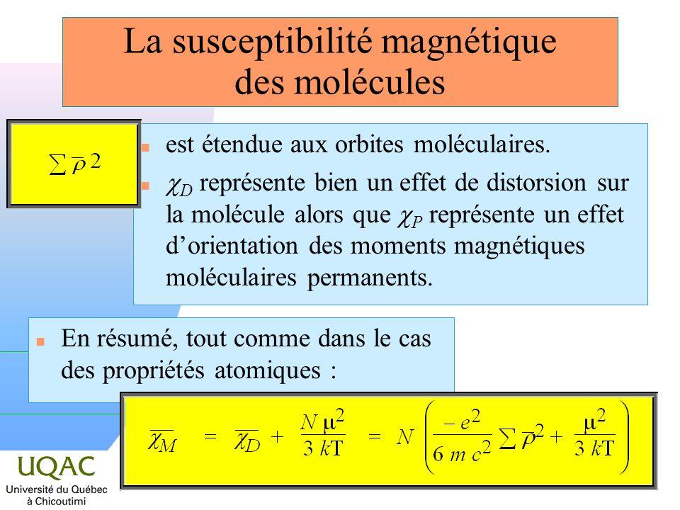 La susceptibilité magnétique des molécules n est étendue aux orbites moléculaires.