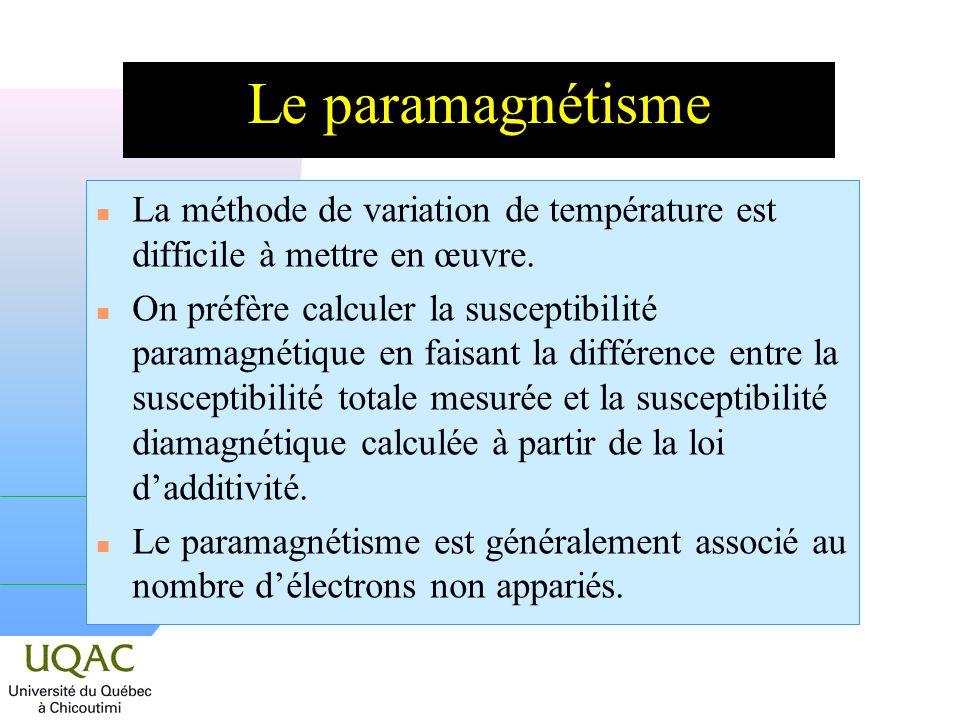 n La méthode de variation de température est difficile à mettre en œuvre.