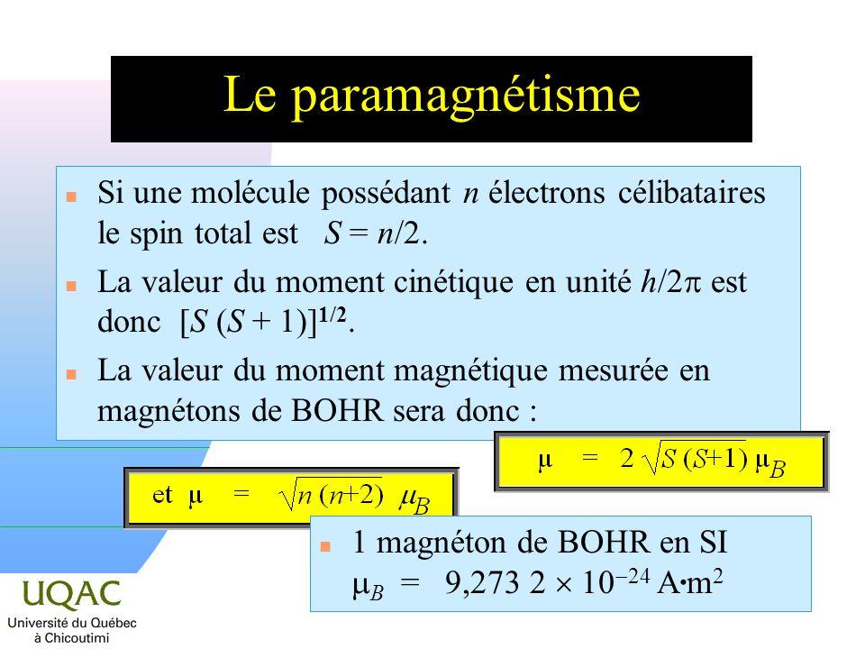 n Si une molécule possédant n électrons célibataires le spin total est S = n/2.