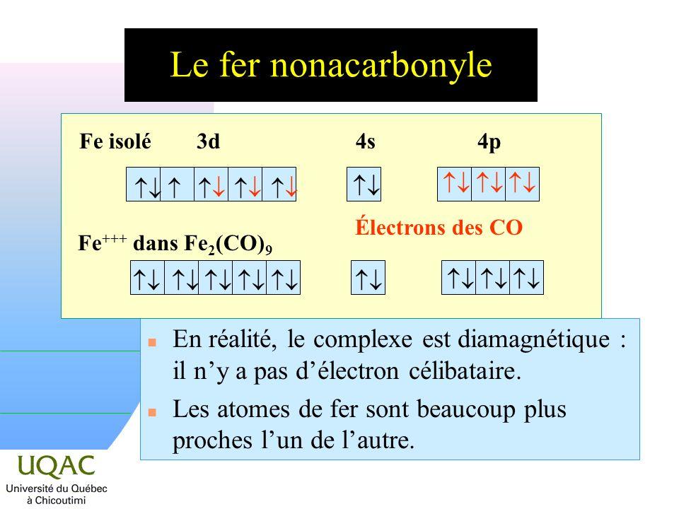 Le fer nonacarbonyle n En réalité, le complexe est diamagnétique : il ny a pas délectron célibataire.