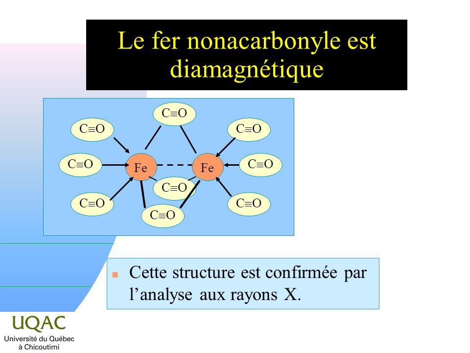 Le fer nonacarbonyle est diamagnétique n Cette structure est confirmée par lanalyse aux rayons X.