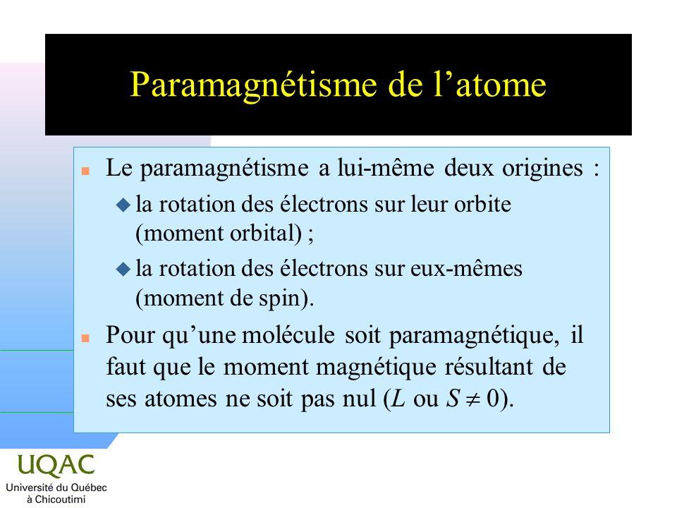 Paramagnétisme de latome n Le paramagnétisme a lui-même deux origines : la rotation des électrons sur leur orbite (moment orbital) ; u la rotation des électrons sur eux-mêmes (moment de spin).