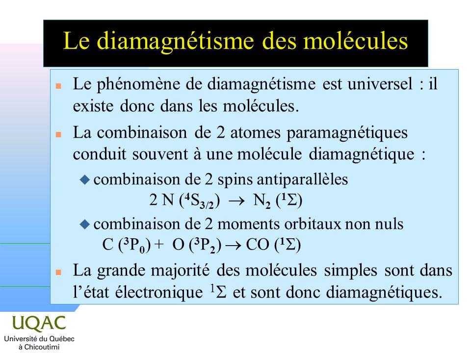 n Le phénomène de diamagnétisme est universel : il existe donc dans les molécules.
