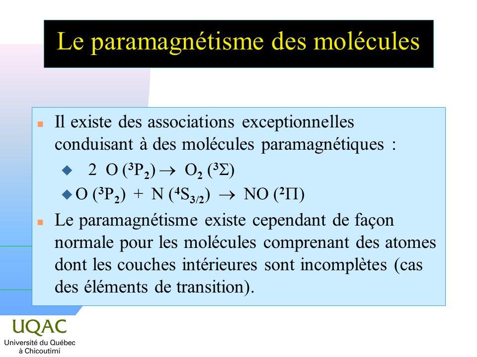 Le paramagnétisme des molécules n Il existe des associations exceptionnelles conduisant à des molécules paramagnétiques : 2 O ( 3 P 2 ) O 2 ( 3 ) O ( 3 P 2 ) + N ( 4 S 3/2 ) NO ( 2 ) n Le paramagnétisme existe cependant de façon normale pour les molécules comprenant des atomes dont les couches intérieures sont incomplètes (cas des éléments de transition).