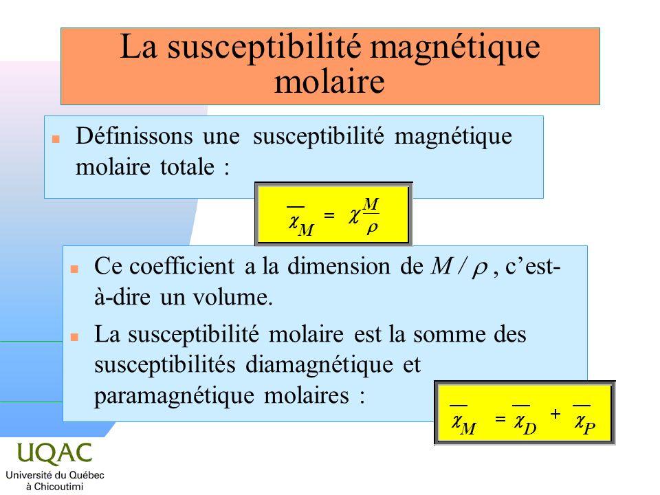 Rappels : la susceptibilité magnétique atomique n Les susceptibilités diamagnétique et paramagnétique molaires de latome sont : n Ces résultats sont applicables sans modification à la molécule.