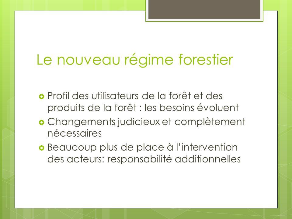 Le nouveau régime forestier Profil des utilisateurs de la forêt et des produits de la forêt : les besoins évoluent Changements judicieux et complètement nécessaires Beaucoup plus de place à lintervention des acteurs: responsabilité additionnelles