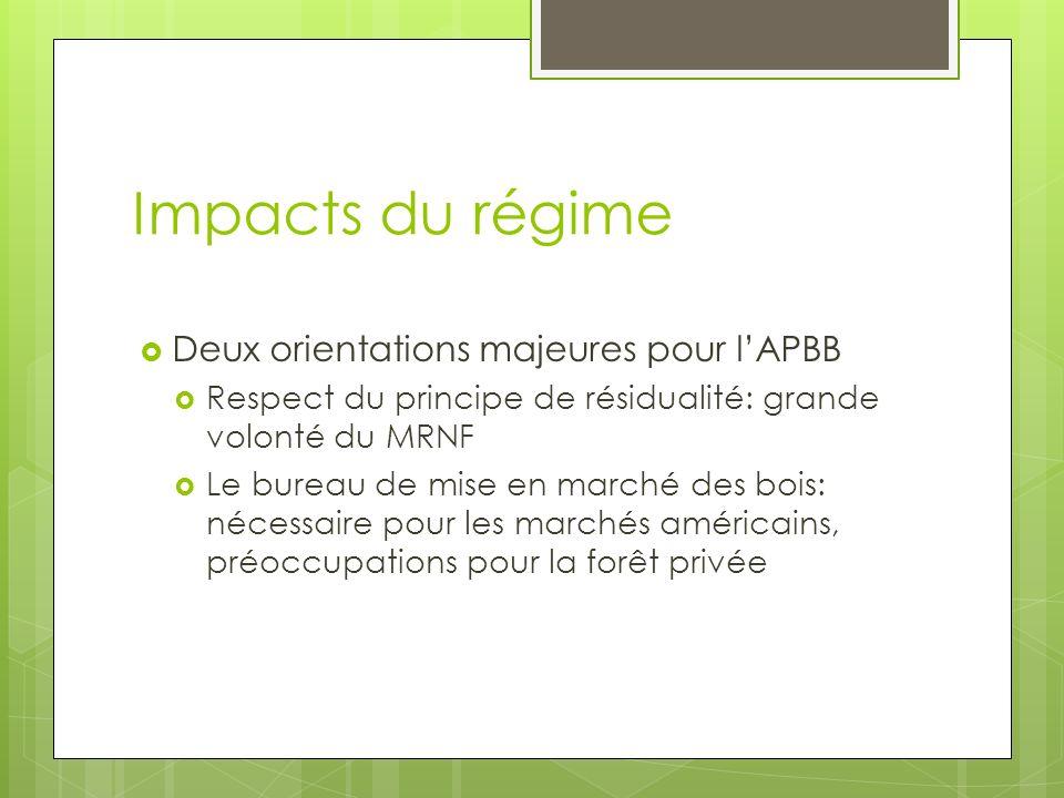 Impacts du régime Deux orientations majeures pour lAPBB Respect du principe de résidualité: grande volonté du MRNF Le bureau de mise en marché des bois: nécessaire pour les marchés américains, préoccupations pour la forêt privée