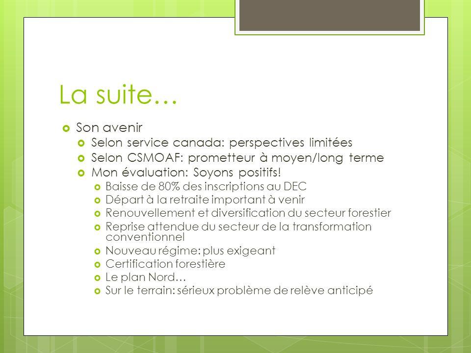 La suite… Son avenir Selon service canada: perspectives limitées Selon CSMOAF: prometteur à moyen/long terme Mon évaluation: Soyons positifs.