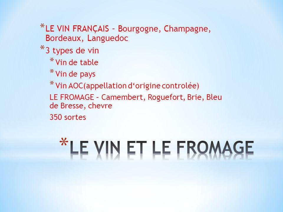 * LE VIN FRANÇAIS – Bourgogne, Champagne, Bordeaux, Languedoc * 3 types de vin * Vin de table * Vin de pays * Vin AOC(appellation dorigine controlée)