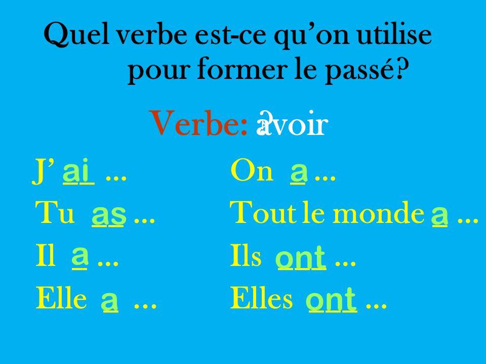 Quel verbe est-ce quon utilise pour former le passé.