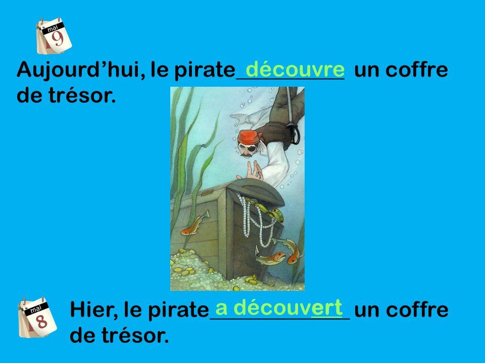 Aujourdhui, le pirate__________ un coffre de trésor.