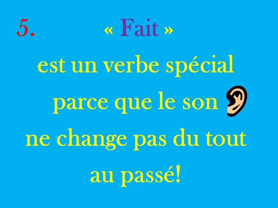 5. « Fait » est un verbe spécial parce que le son ne change pas du tout au passé!
