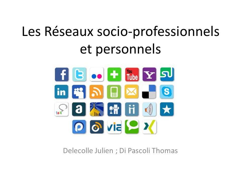 Les Réseaux socio-professionnels et personnels Delecolle Julien ; Di Pascoli Thomas
