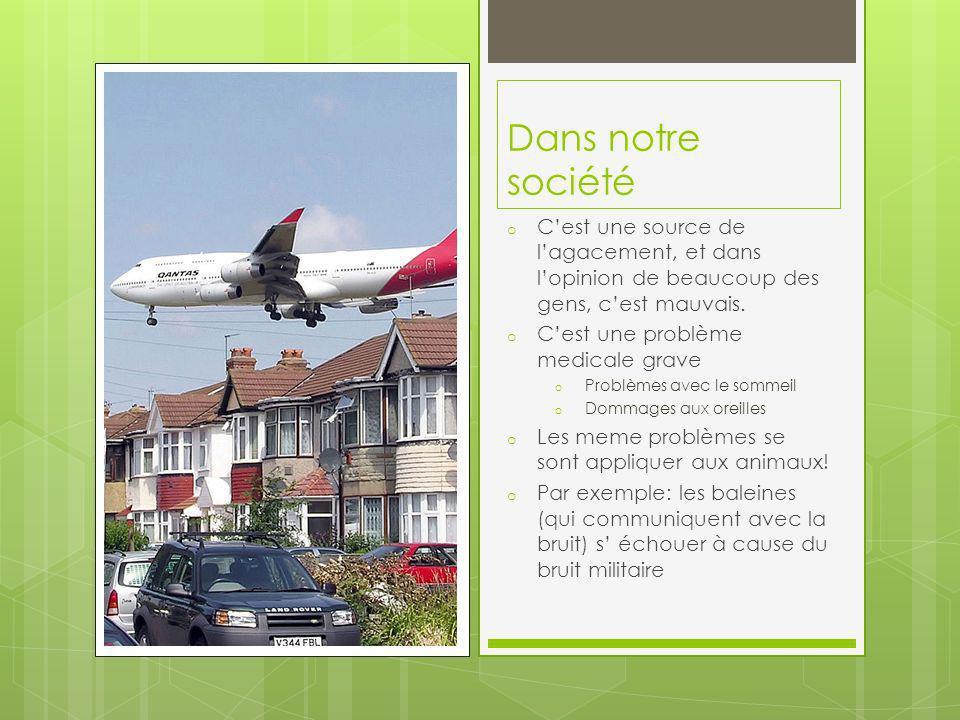 Dans La France Quelques oiseaux en France ont changé leurs chants pour adapter au bruit qui est plus fort que le niveau de bruit de lequel ils ont lhabitude Quelques lois ont été mis en place pour soccuper de la pollution sonore en France
