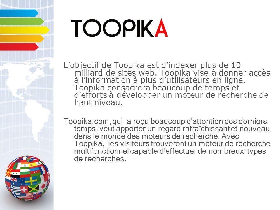 Lobjectif de Toopika est dindexer plus de 10 milliard de sites web.