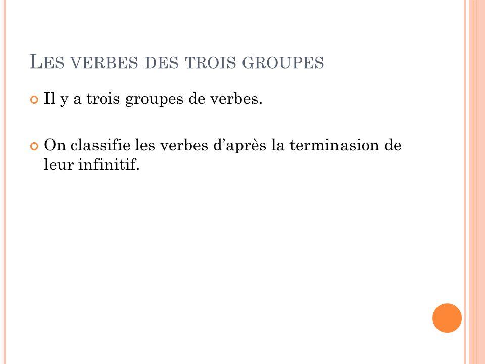 L ES VERBES DES TROIS GROUPES Il y a trois groupes de verbes. On classifie les verbes daprès la terminasion de leur infinitif.