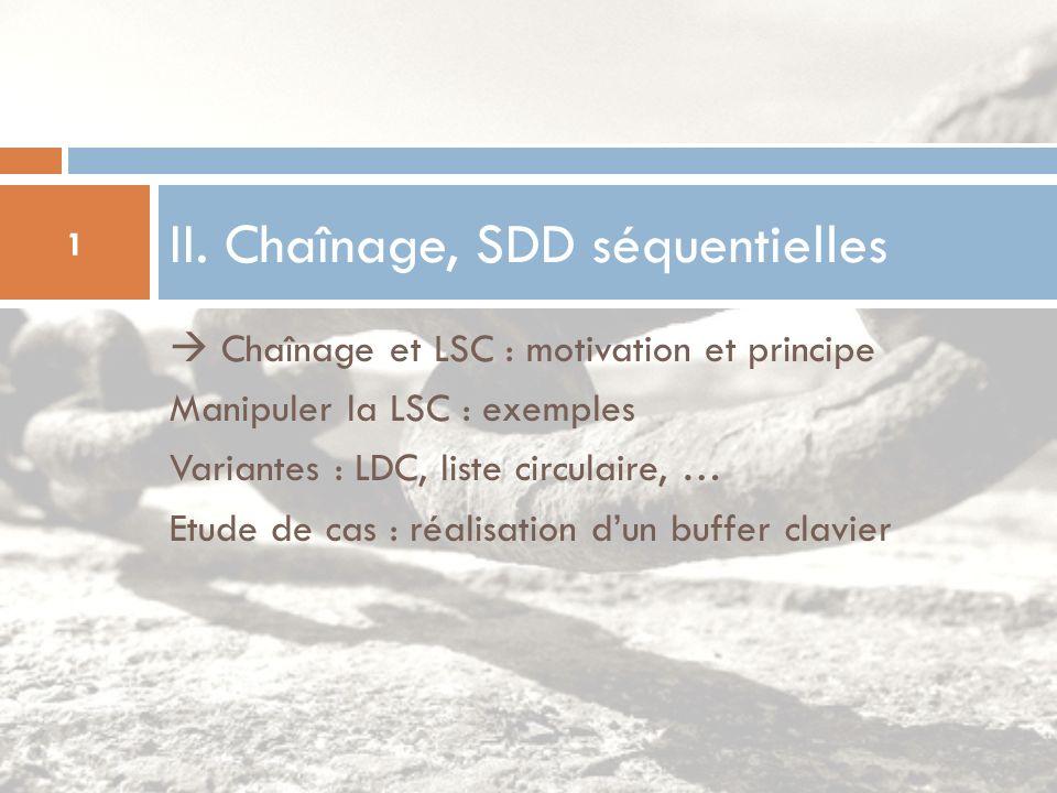 Chaînage et LSC : motivation et principe Manipuler la LSC : exemples Variantes : LDC, liste circulaire, … Etude de cas : réalisation dun buffer clavie