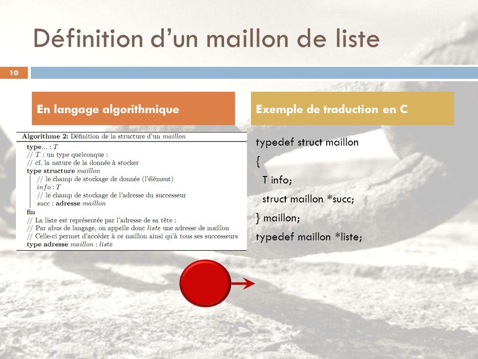 Définition dun maillon de liste typedef struct maillon { T info; struct maillon *succ; } maillon; typedef maillon *liste; En langage algorithmiqueExem