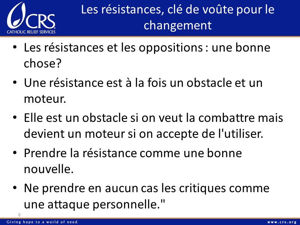 Les résistances, clé de voûte pour le changement 6 Les résistances et les oppositions : une bonne chose? Une résistance est à la fois un obstacle et u