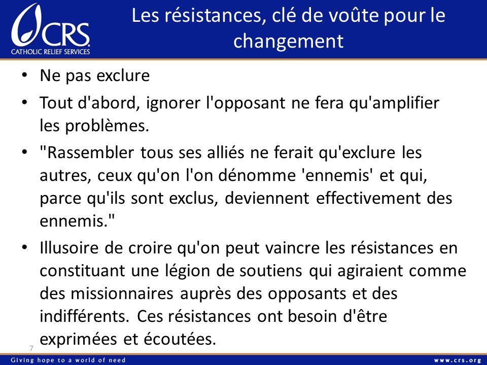 Les résistances, clé de voûte pour le changement 7 Ne pas exclure Tout d'abord, ignorer l'opposant ne fera qu'amplifier les problèmes.