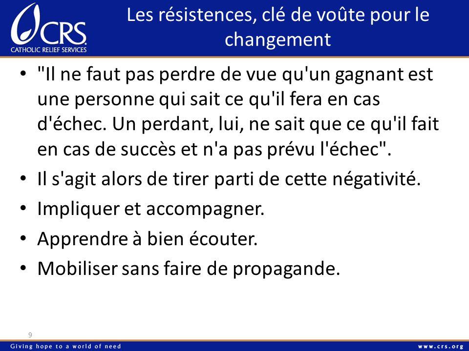 Les résistances, clé de voûte pour le changement 10 Le grand ennemi du changement est le rapport de force .