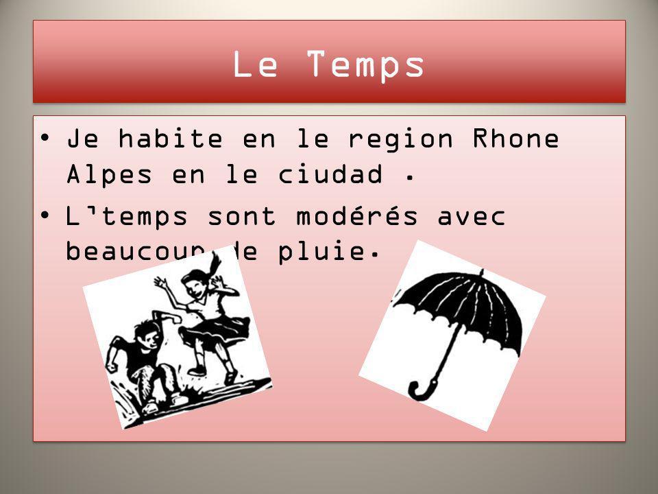 Le Temps Je habite en le region Rhone Alpes en le ciudad. Ltemps sont modérés avec beaucoup de pluie. Je habite en le region Rhone Alpes en le ciudad.