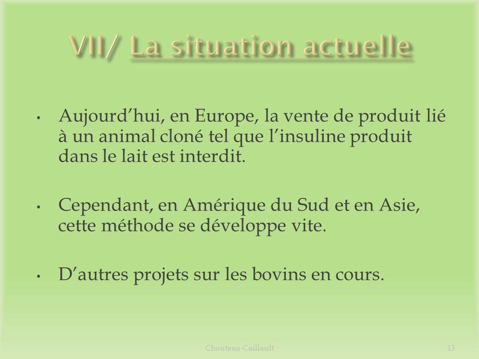 Aujourdhui, en Europe, la vente de produit lié à un animal cloné tel que linsuline produit dans le lait est interdit. Cependant, en Amérique du Sud et