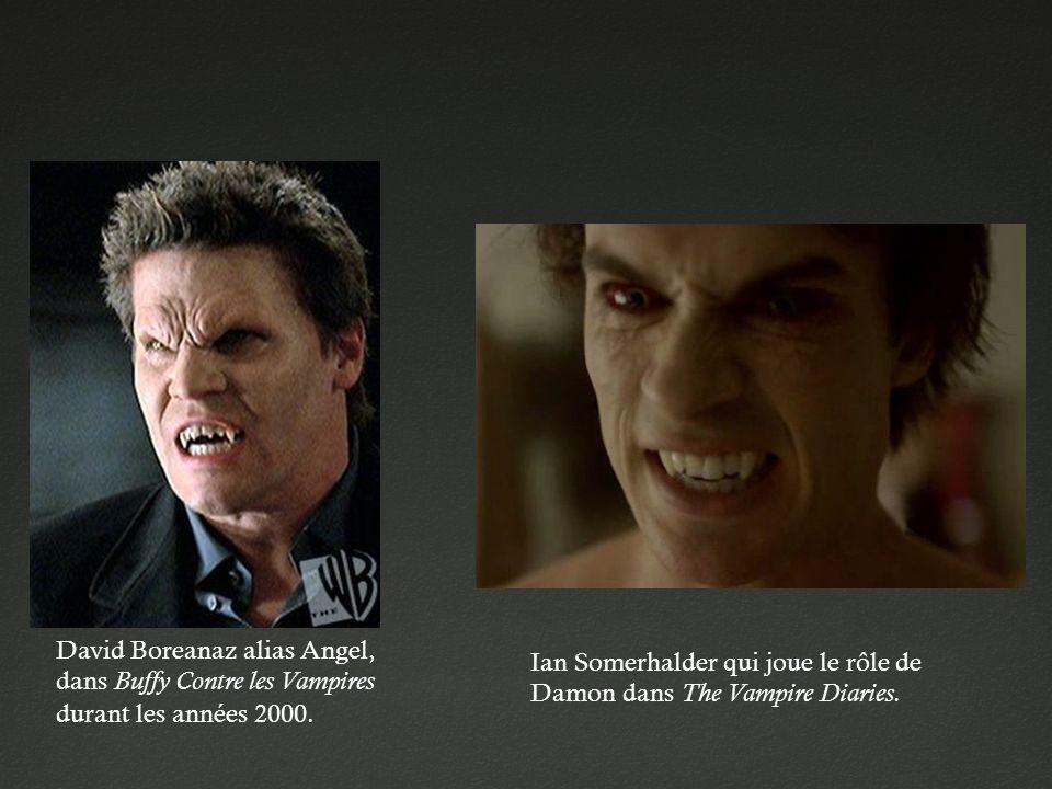 David Boreanaz alias Angel, dans Buffy Contre les Vampires durant les années 2000. Ian Somerhalder qui joue le rôle de Damon dans The Vampire Diaries.