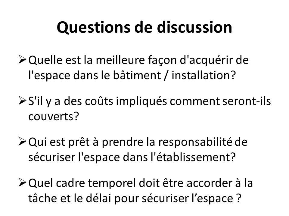 Questions de discussion Quelle est la meilleure façon d acquérir de l espace dans le bâtiment / installation.