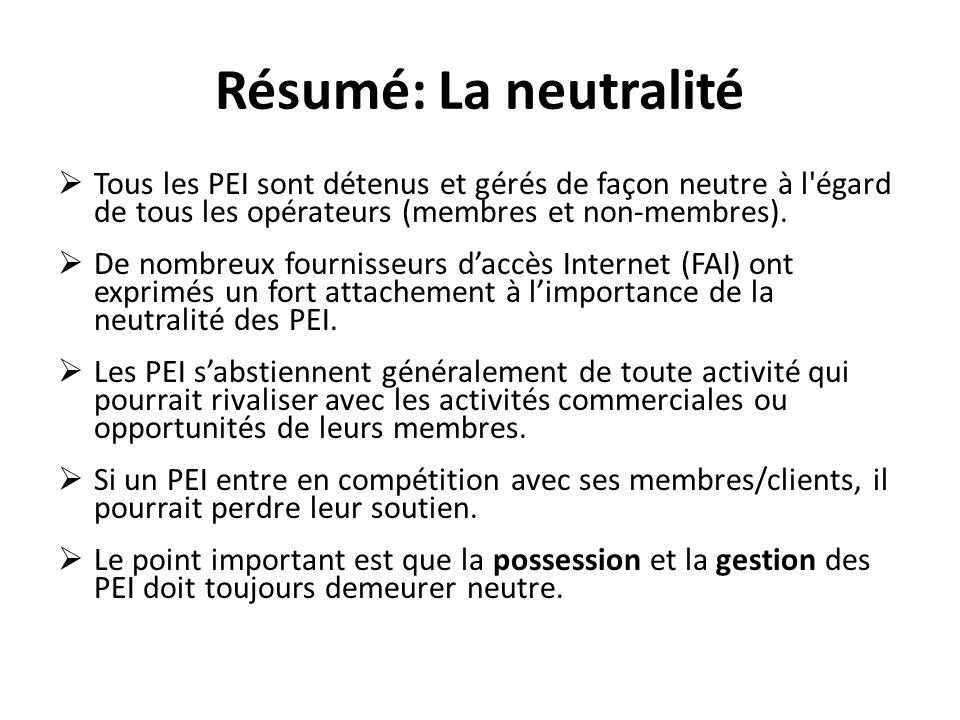 Résumé: La neutralité Tous les PEI sont détenus et gérés de façon neutre à l égard de tous les opérateurs (membres et non-membres).