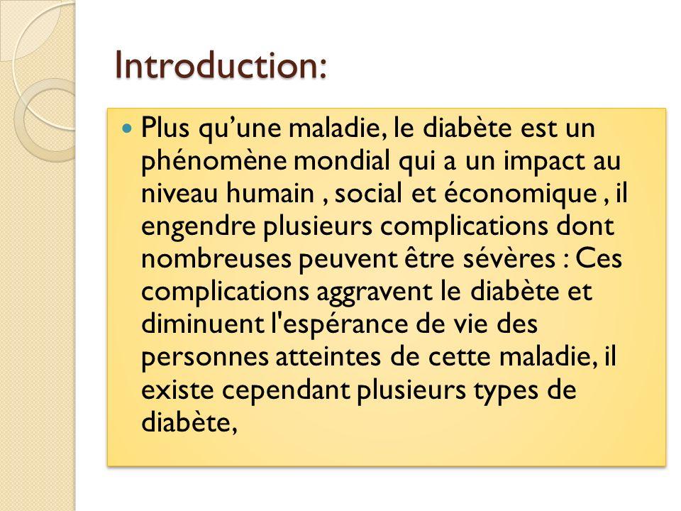 Types de diabète : Il existe plusieurs types de diabète, les plus fréquents sont : diabète de type 1: disparition des cellules productrices d insuline, diabète de type 2: diminution de sensibilité à l insuline, diabète gestationnel: diabète sucré pendant la grossesse