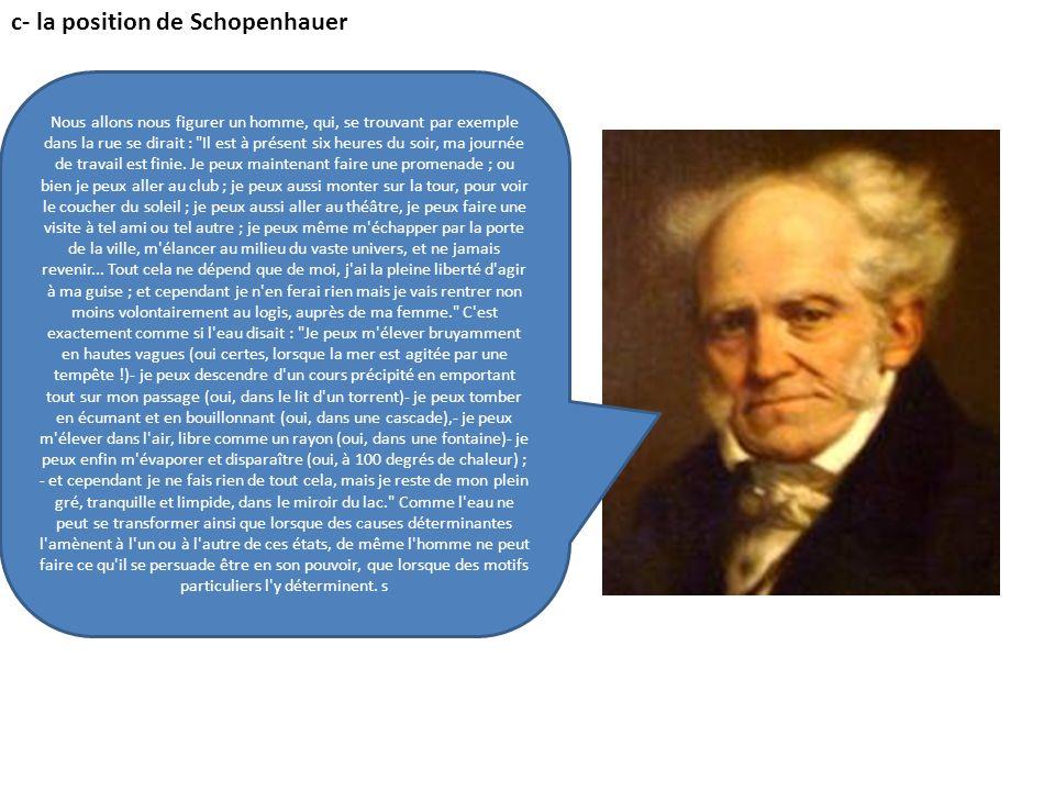 c- la position de Schopenhauer Nous allons nous figurer un homme, qui, se trouvant par exemple dans la rue se dirait :