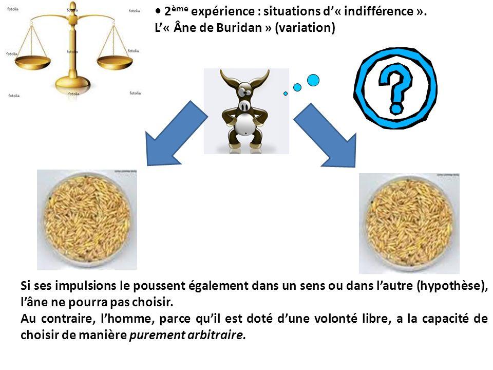 2 ème expérience : situations d« indifférence ». L« Âne de Buridan » (variation) Si ses impulsions le poussent également dans un sens ou dans lautre (