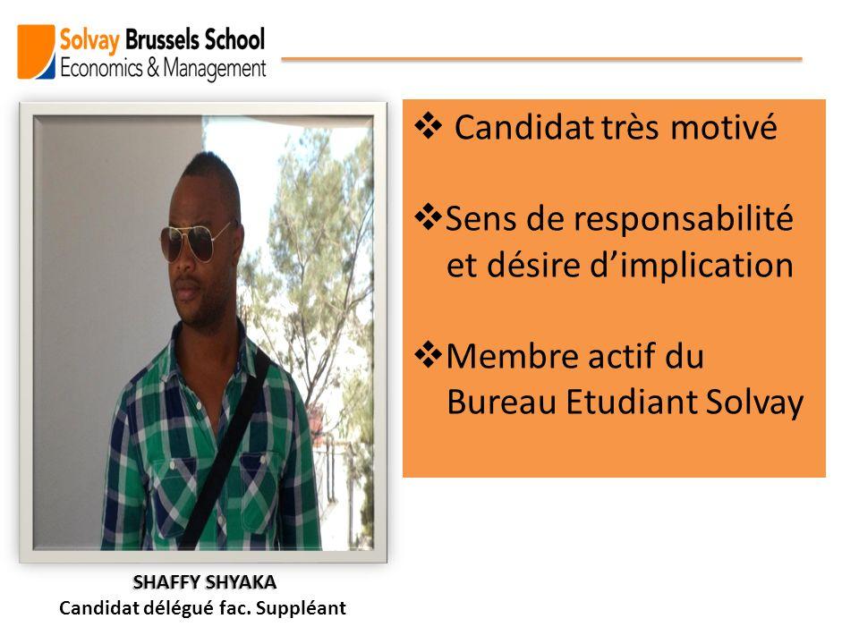 Candidat très motivé Sens de responsabilité et désire dimplication Membre actif du Bureau Etudiant Solvay SHAFFY SHYAKA SHAFFY SHYAKA Candidat délégué