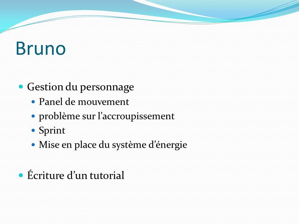 Bruno Gestion du personnage Panel de mouvement problème sur laccroupissement Sprint Mise en place du système dénergie Écriture dun tutorial