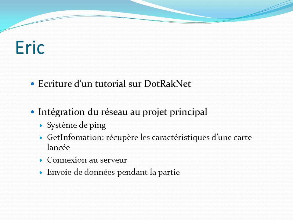 Eric Ecriture dun tutorial sur DotRakNet Intégration du réseau au projet principal Système de ping GetInfomation: récupère les caractéristiques dune c