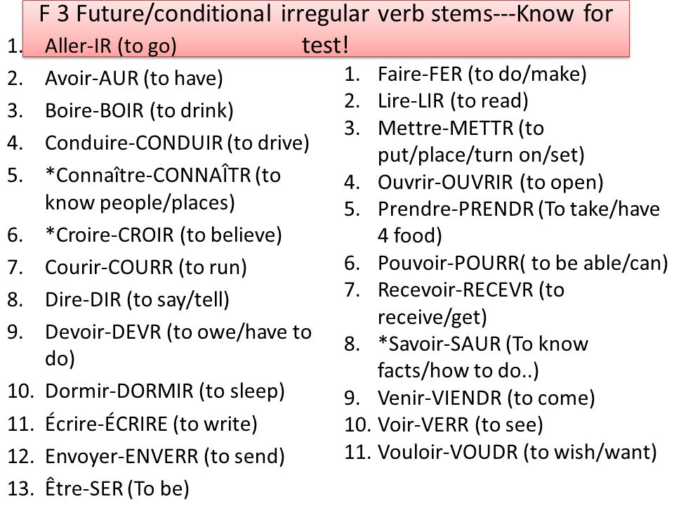F 3 Future/conditional irregular verb stems---Know for test! 1.Aller-IR (to go) 2.Avoir-AUR (to have) 3.Boire-BOIR (to drink) 4.Conduire-CONDUIR (to d