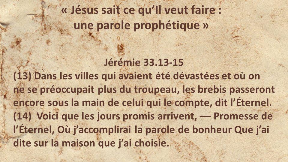 « Jésus sait ce quIl veut faire : une parole prophétique » Jérémie 33.13-15 (13) Dans les villes qui avaient été dévastées et où on ne se préoccupait plus du troupeau, les brebis passeront encore sous la main de celui qui le compte, dit lÉternel.