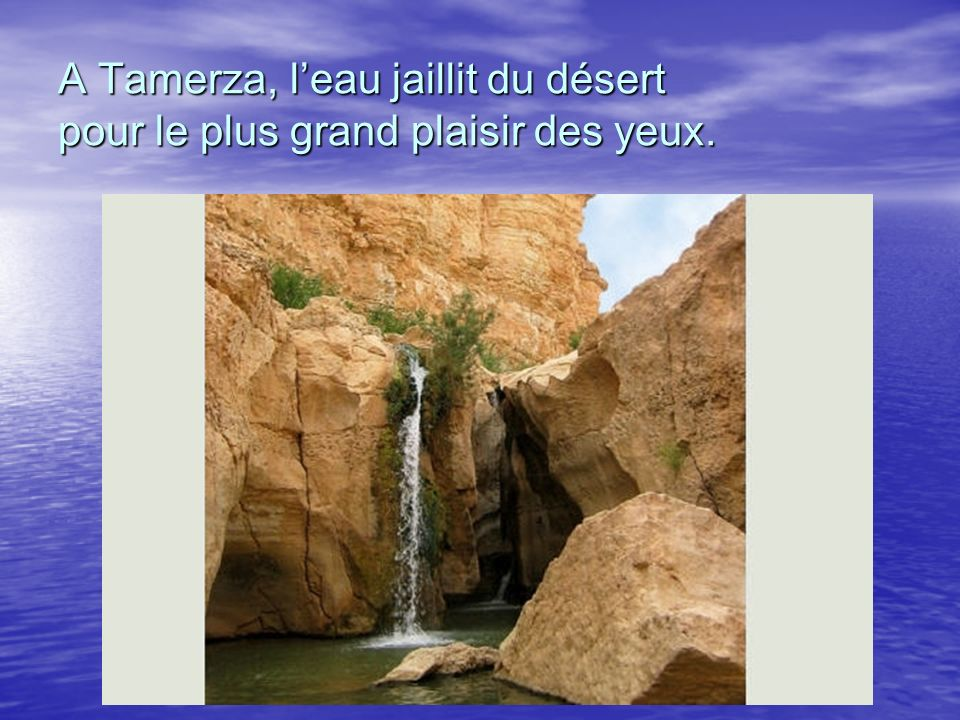A Tamerza, leau jaillit du désert pour le plus grand plaisir des yeux.