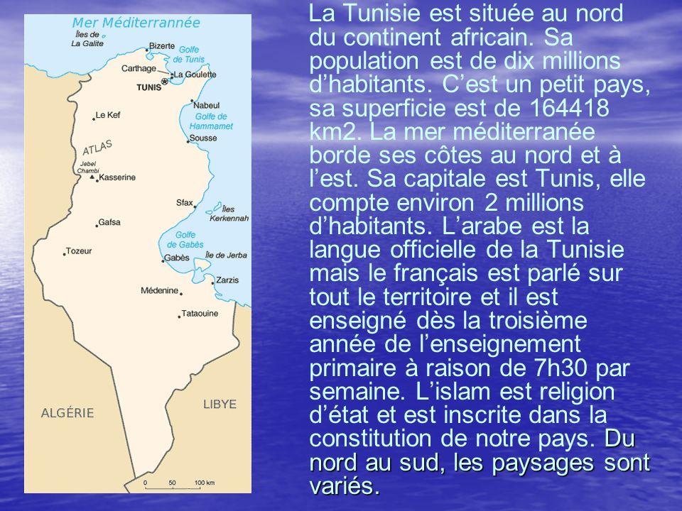 Du nord au sud, les paysages sont variés. La Tunisie est située au nord du continent africain. Sa population est de dix millions dhabitants. Cest un p