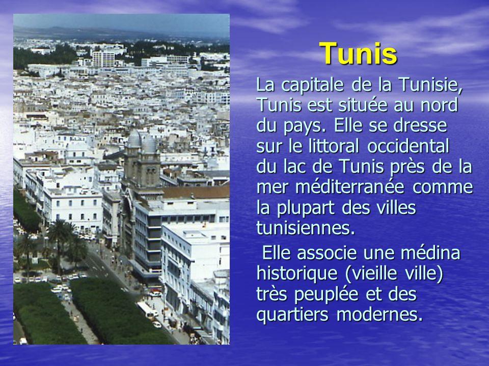 Tunis Tunis La capitale de la Tunisie, Tunis est située au nord du pays. Elle se dresse sur le littoral occidental du lac de Tunis près de la mer médi